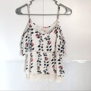 Skies are Blue White Floral Cold Shoulder Tank Top